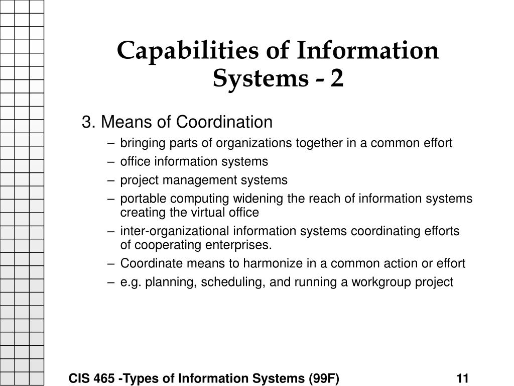 Capabilities of Information Systems - 2