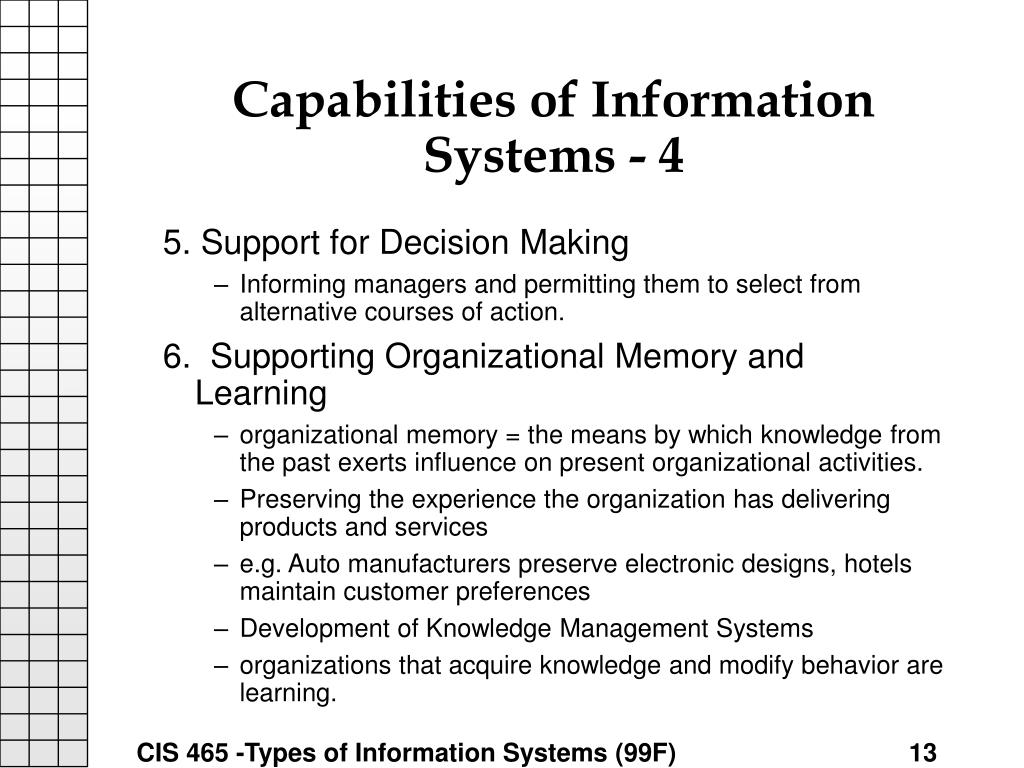 Capabilities of Information Systems - 4
