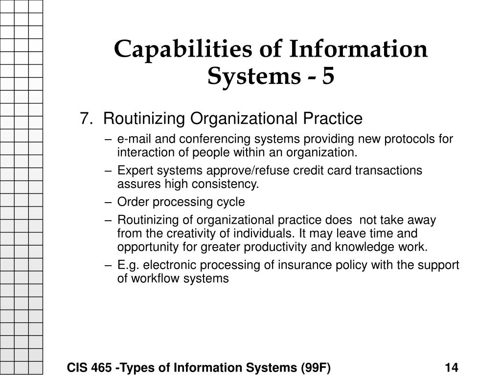 Capabilities of Information Systems - 5