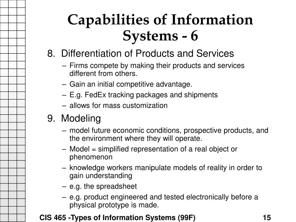 Capabilities of Information Systems - 6