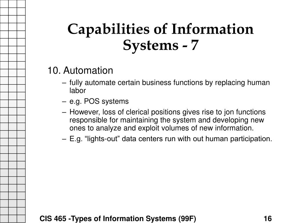 Capabilities of Information Systems - 7