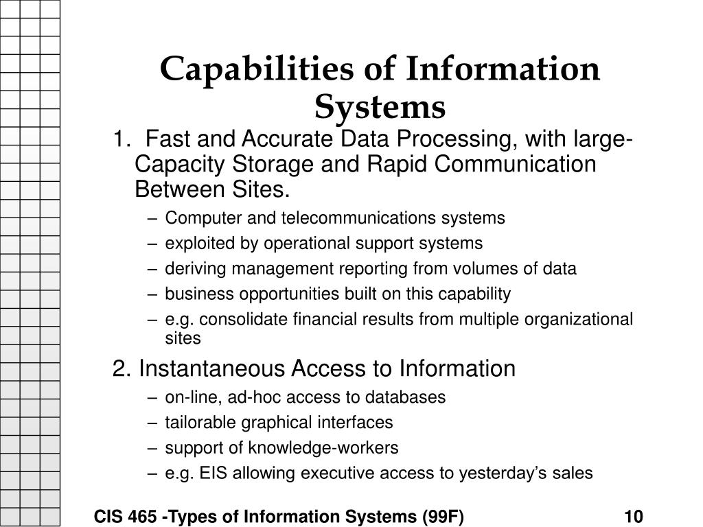 Capabilities of Information Systems