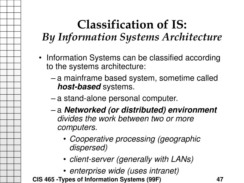 Classification of IS: