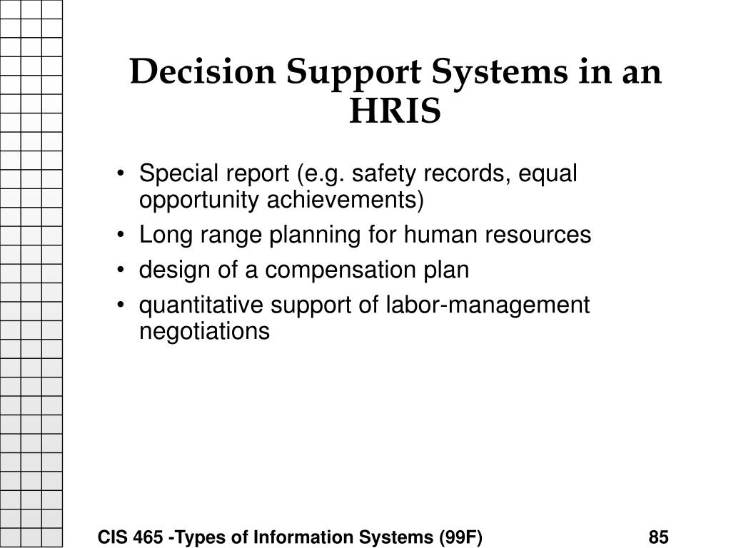 Decision Support Systems in an HRIS