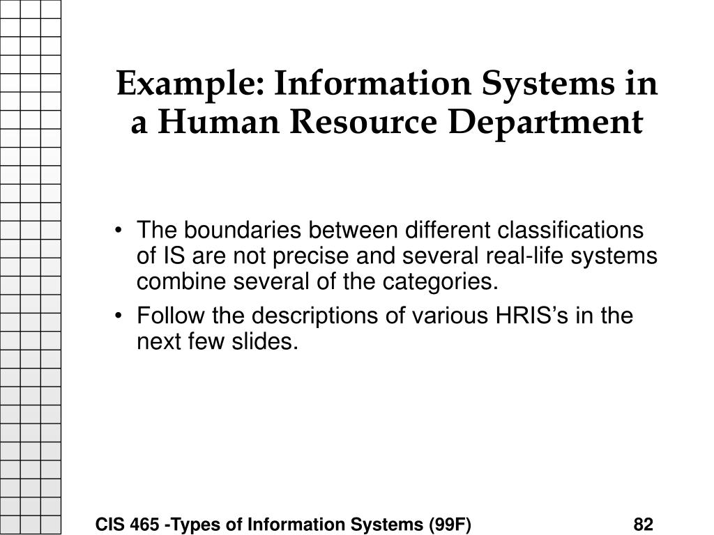 Example: Information Systems in a Human Resource Department