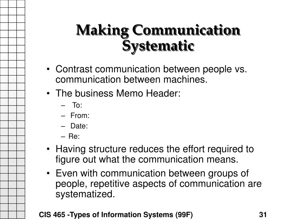 Making Communication Systematic