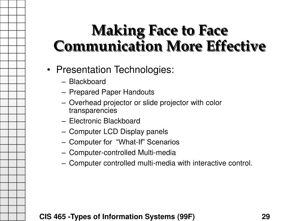 Making Face to Face Communication More Effective