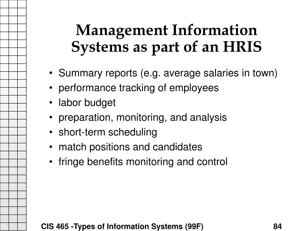 Management Information Systems as part of an HRIS