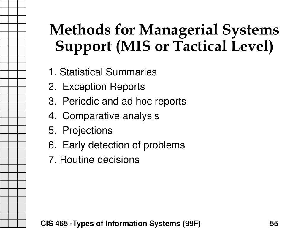 Methods for Managerial Systems Support (MIS or Tactical Level)