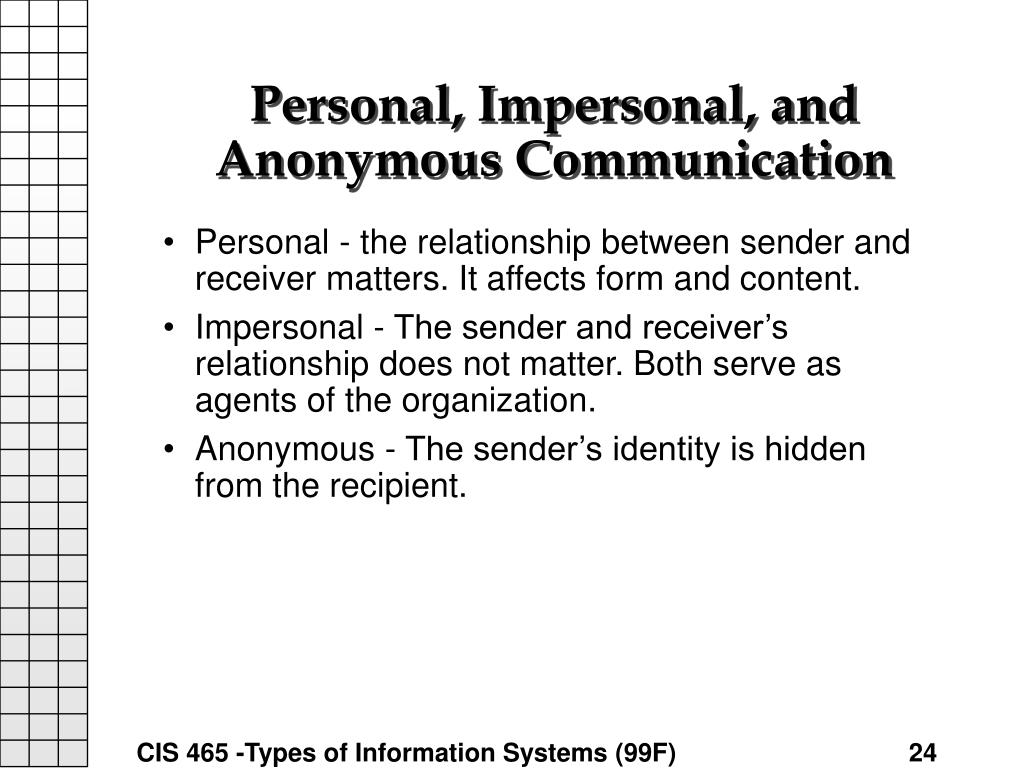 Personal, Impersonal, and Anonymous Communication