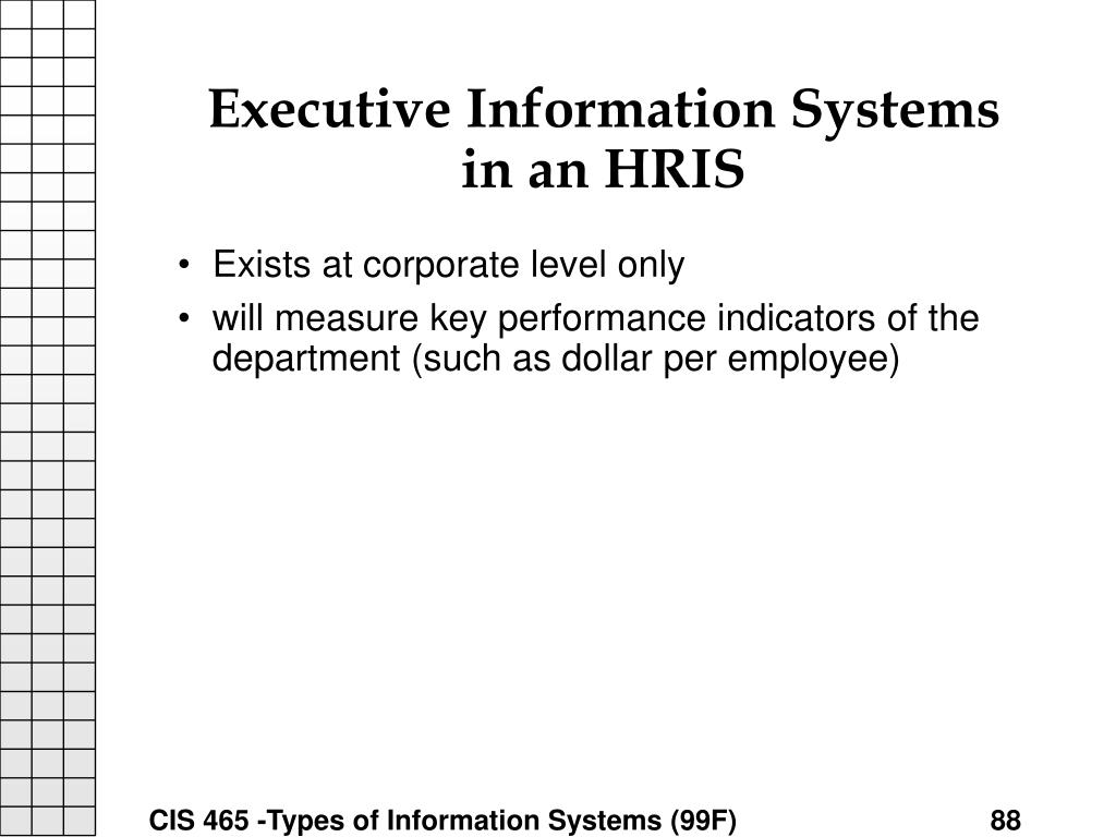 Executive Information Systems in an HRIS