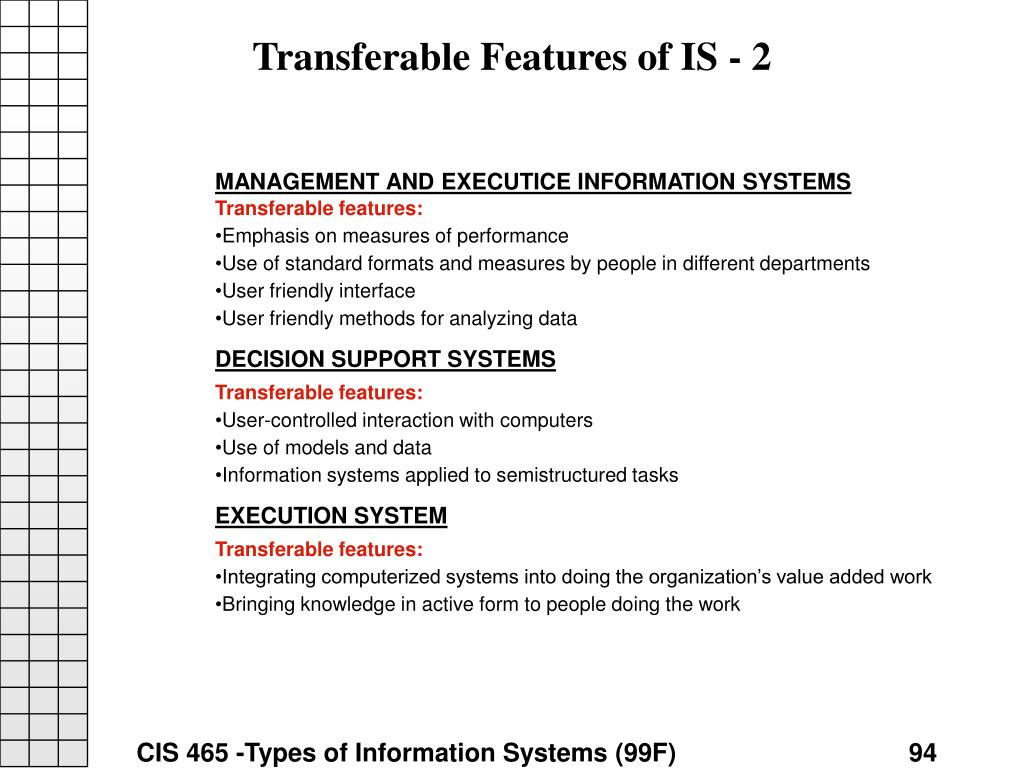 Transferable Features of IS - 2