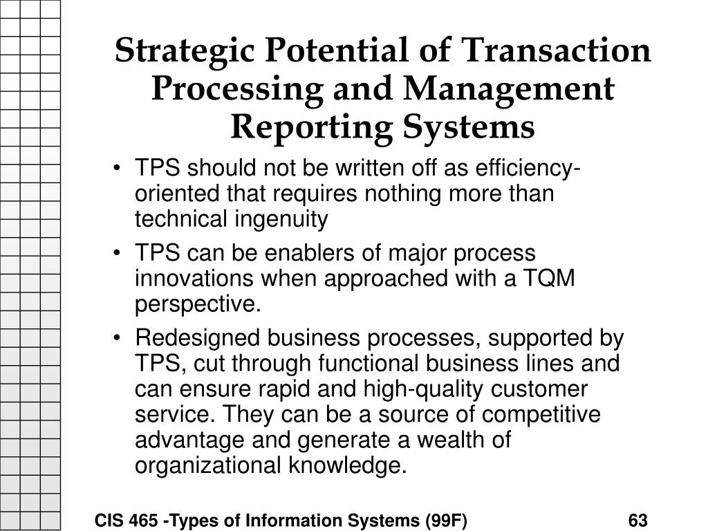 Strategic Potential of Transaction Processing and Management Reporting Systems