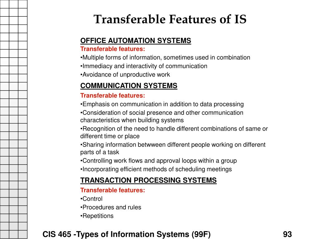 Transferable Features of IS