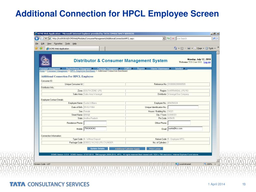 Additional Connection for HPCL Employee Screen