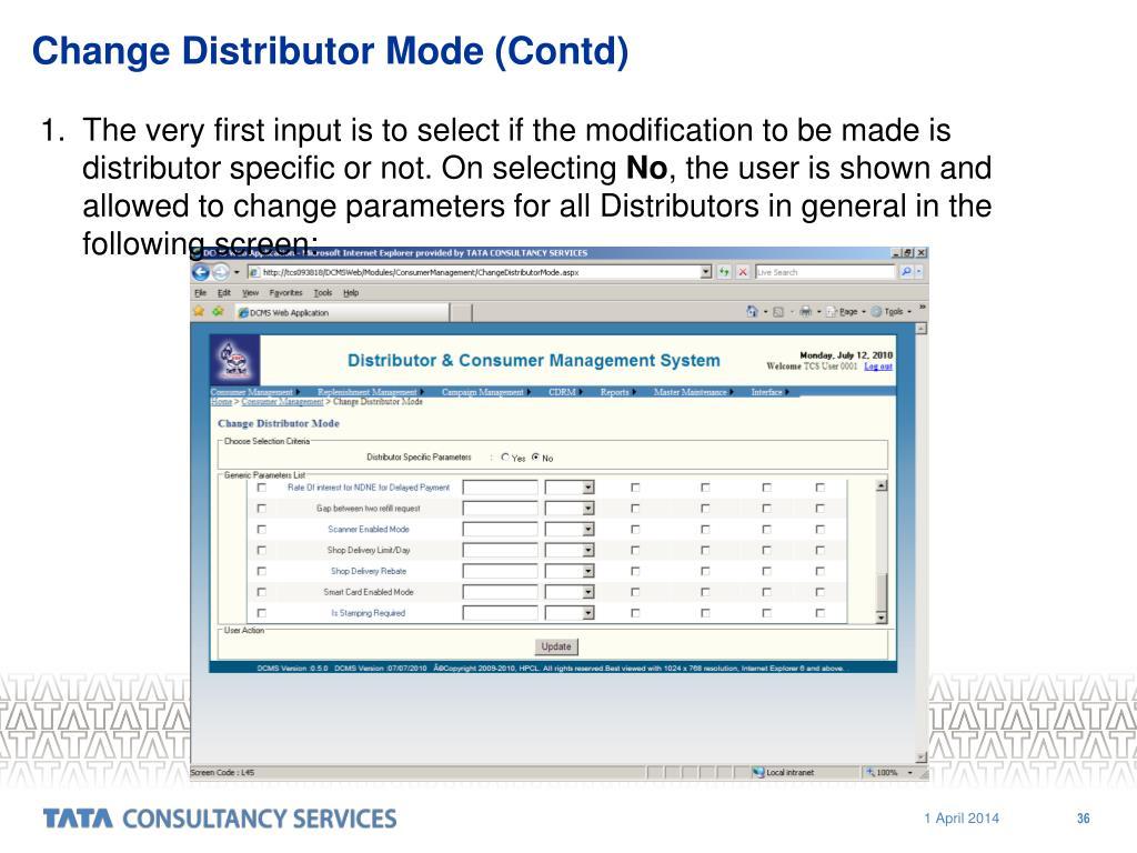 Change Distributor Mode (Contd)