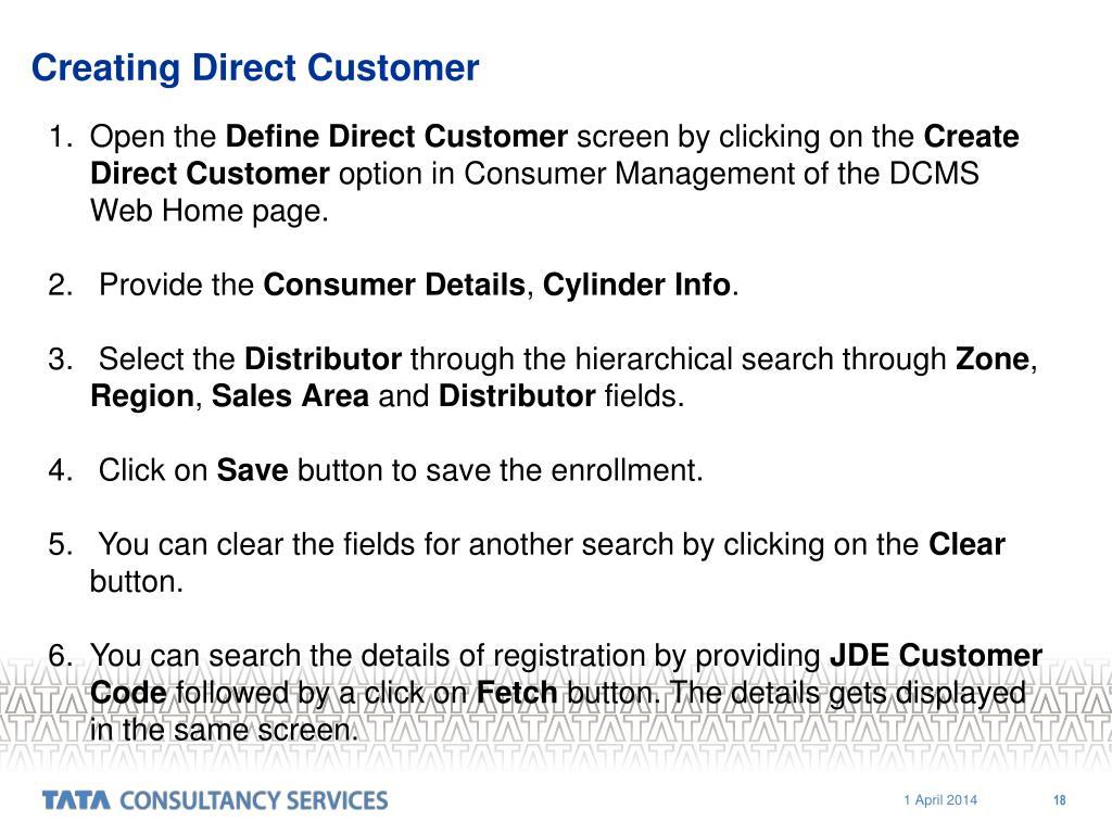 Creating Direct Customer