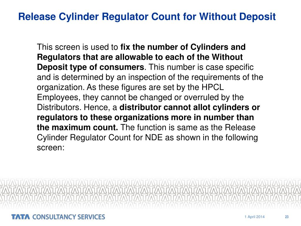 Release Cylinder Regulator Count for Without Deposit