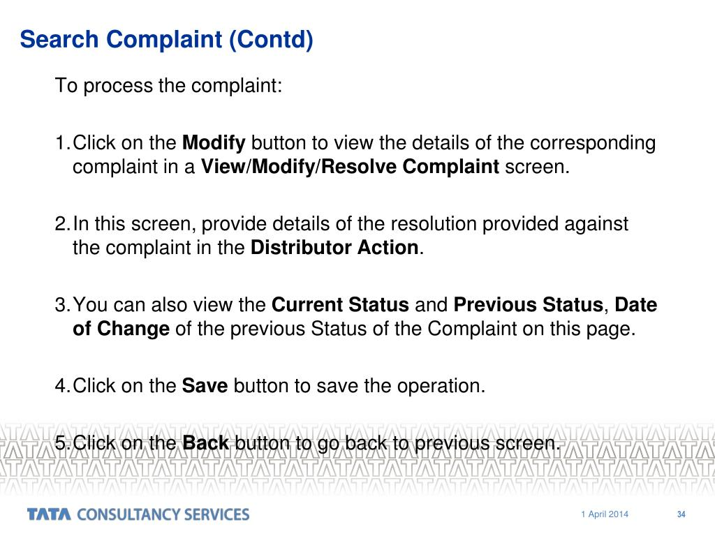 Search Complaint (Contd)