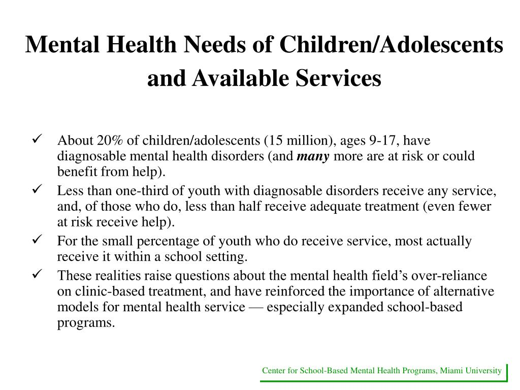 Mental Health Needs of Children/Adolescents and Available Services