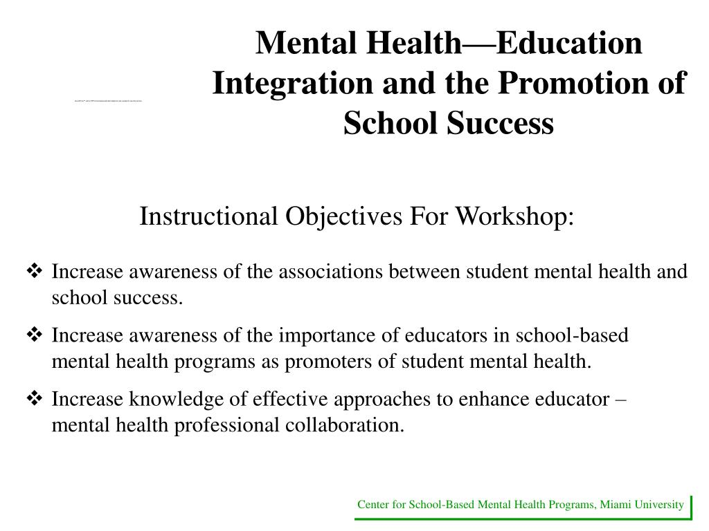 Mental Health—Education Integration and the Promotion of School Success