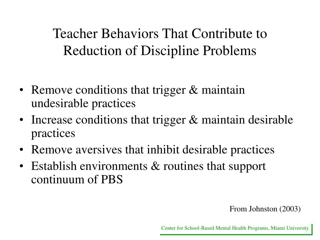 Teacher Behaviors That Contribute to Reduction of Discipline Problems