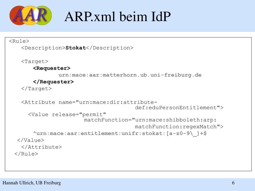 ARP.xml beim IdP