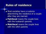 rules of residence