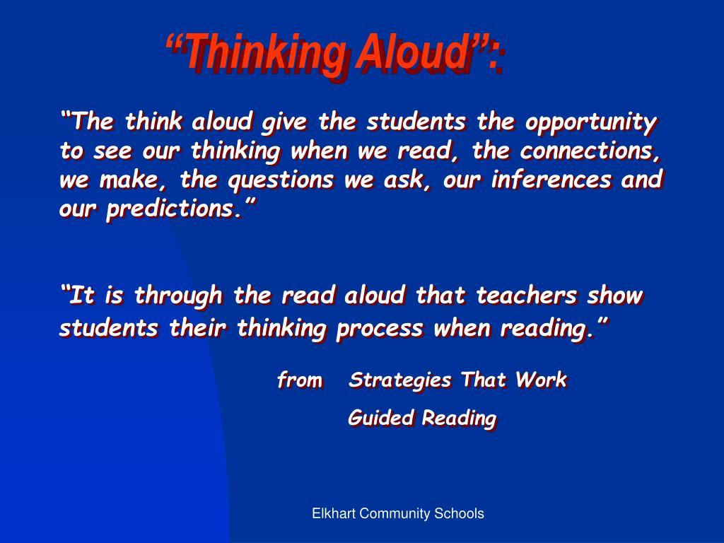 """Thinking Aloud"":"