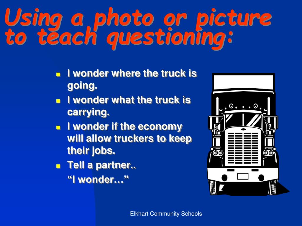 Using a photo or picture to teach questioning: