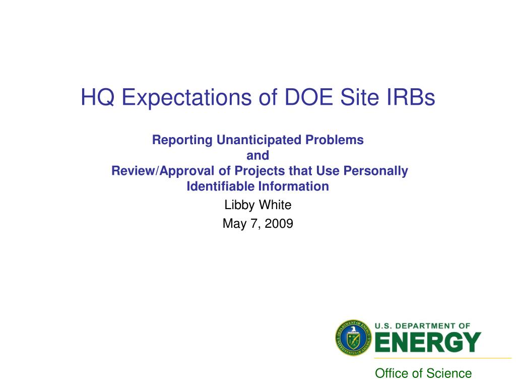 hq expectations of doe site irbs