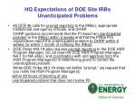 hq expectations of doe site irbs unanticipated problems