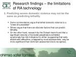 research findings the limitations of ra technology8