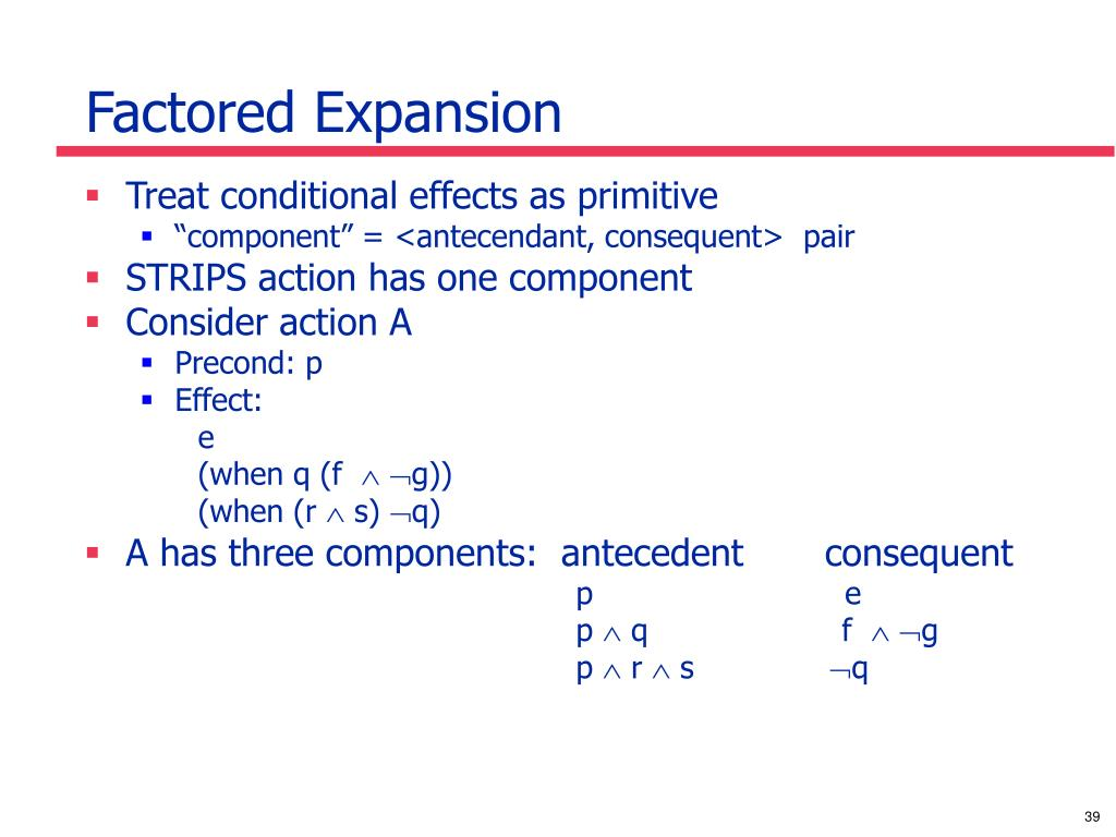Factored Expansion
