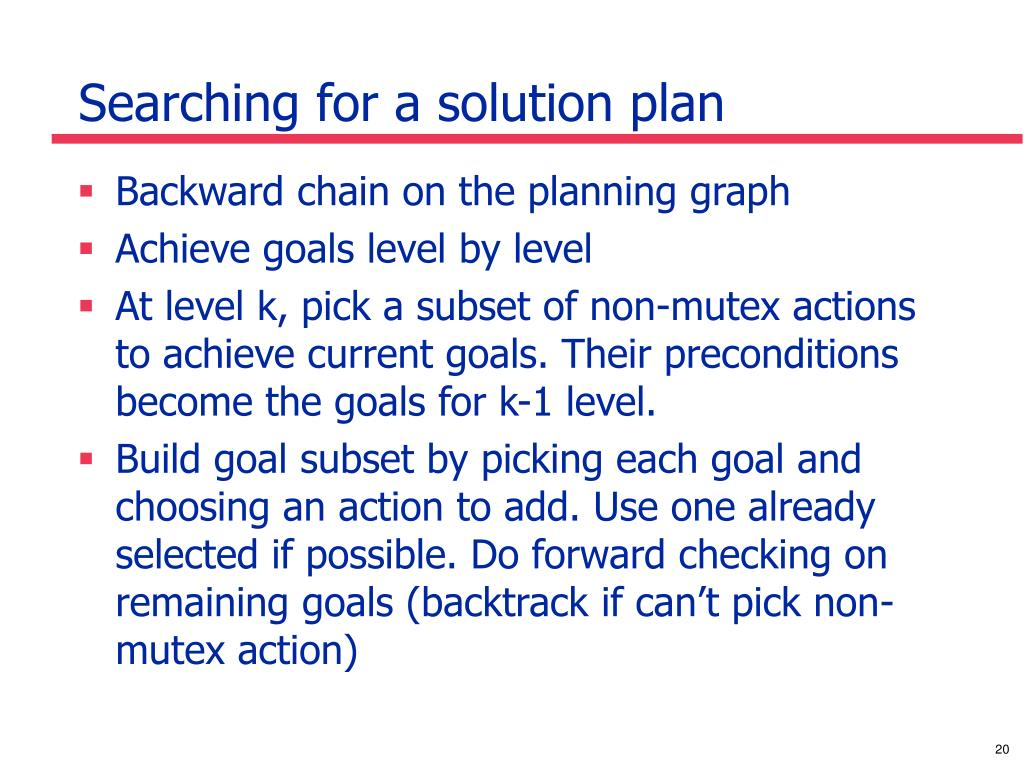 Searching for a solution plan