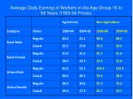 average daily earning of workers in the age group 15 to 59 years 1993 94 prices