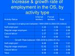 increase growth rate of employment in the os by activity type