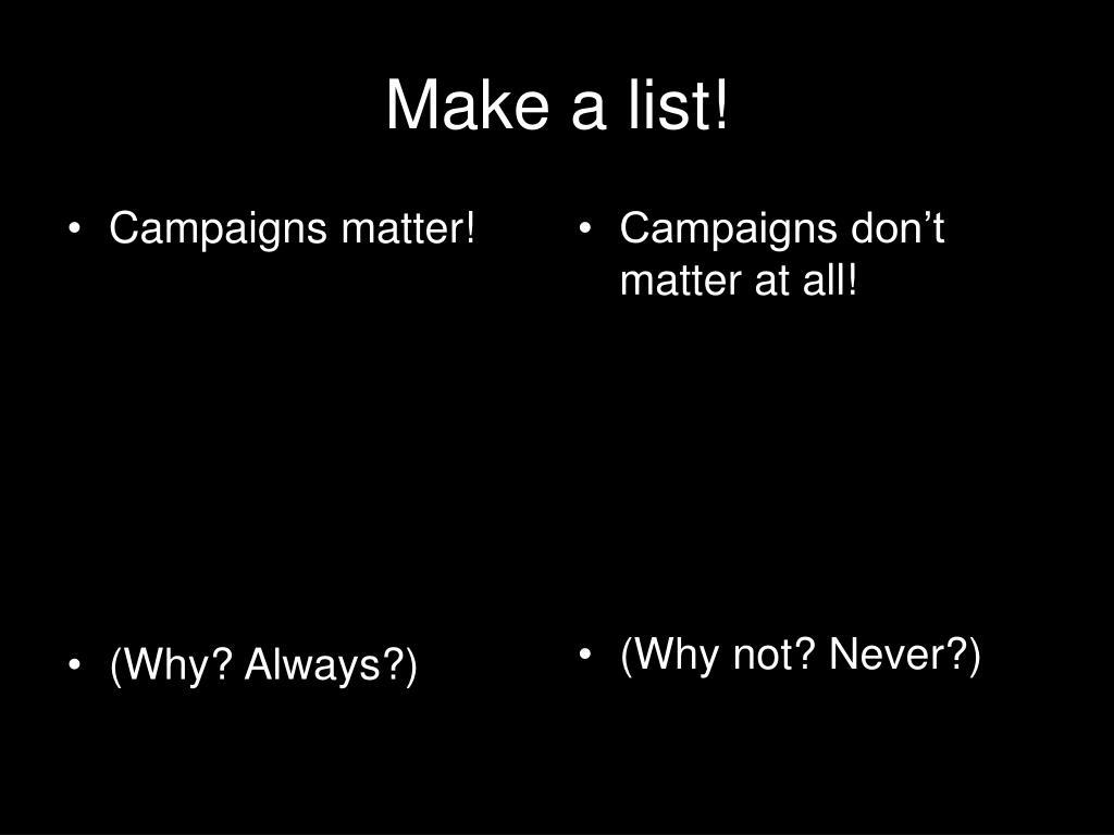 Campaigns matter!