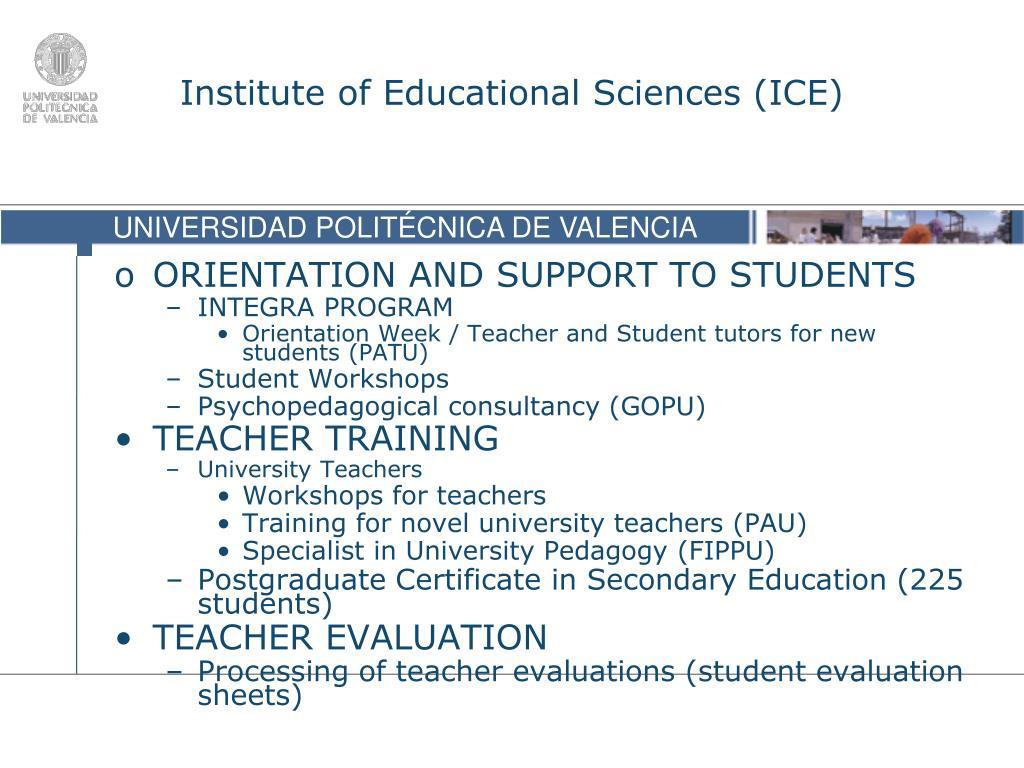 Institute of Educational Sciences (ICE)
