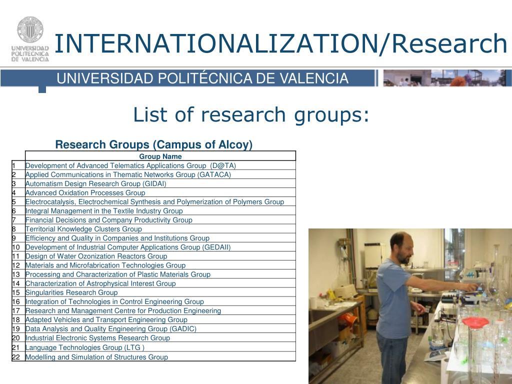 INTERNATIONALIZATION/Research