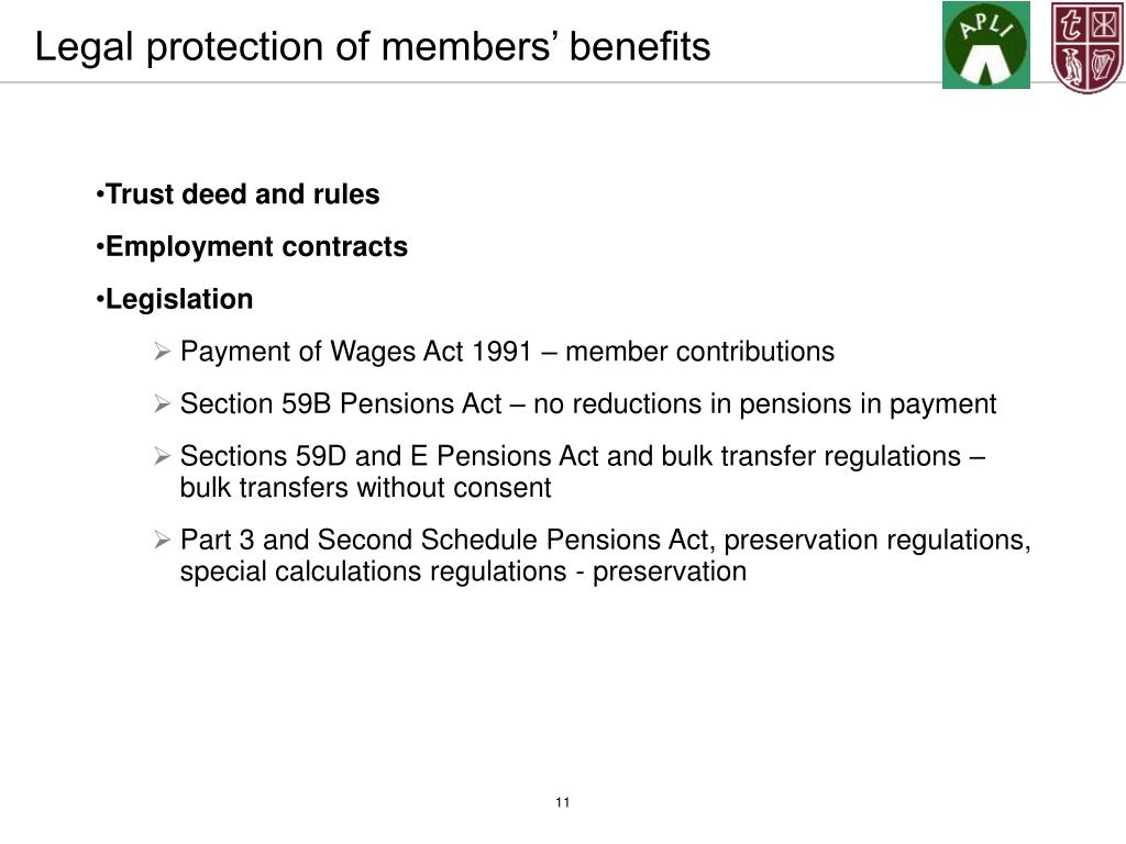 Legal protection of members' benefits