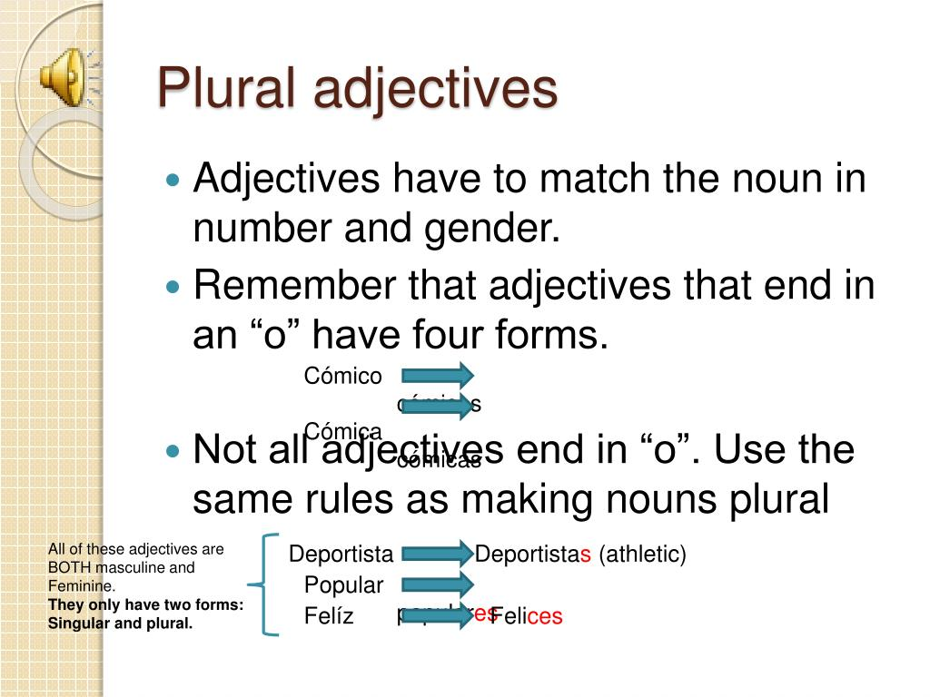 Plural adjectives