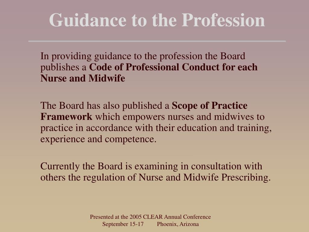 Guidance to the Profession