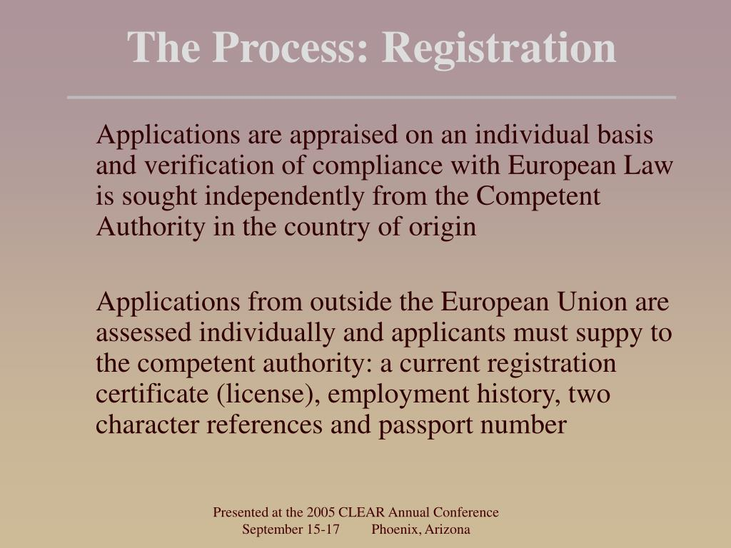 The Process: Registration