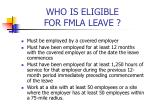 who is eligible for fmla leave