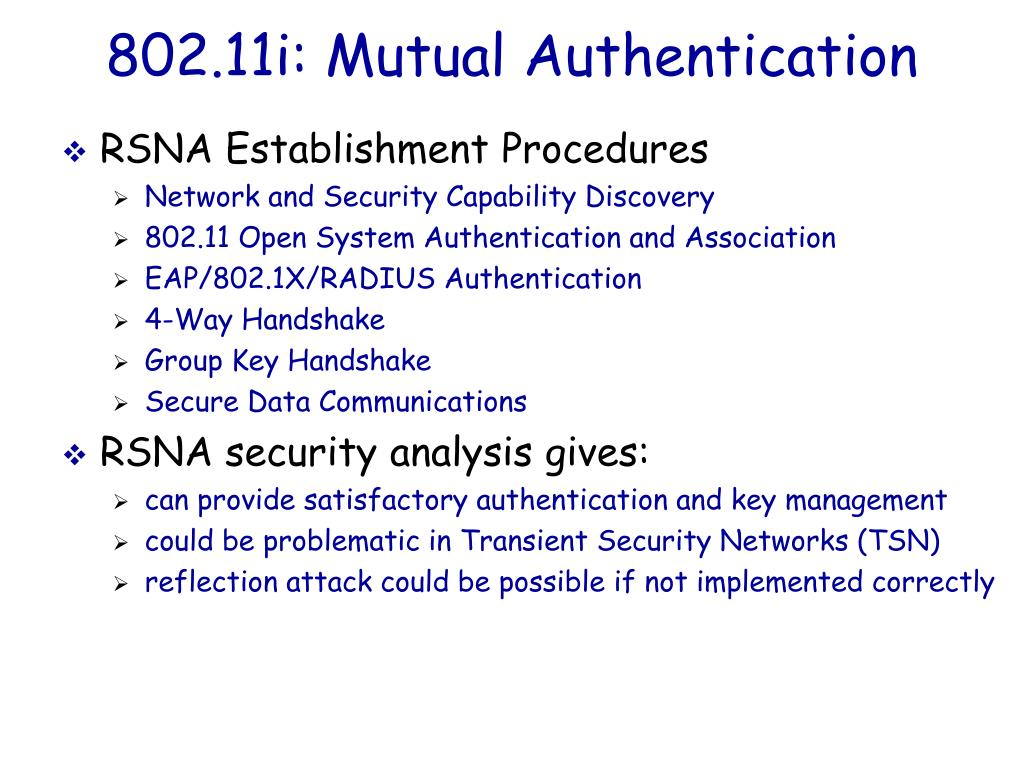 802.11i: Mutual Authentication