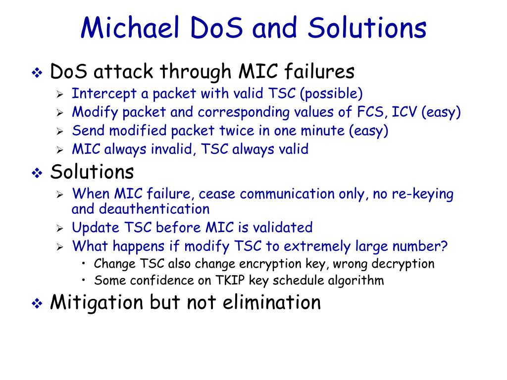 Michael DoS and Solutions