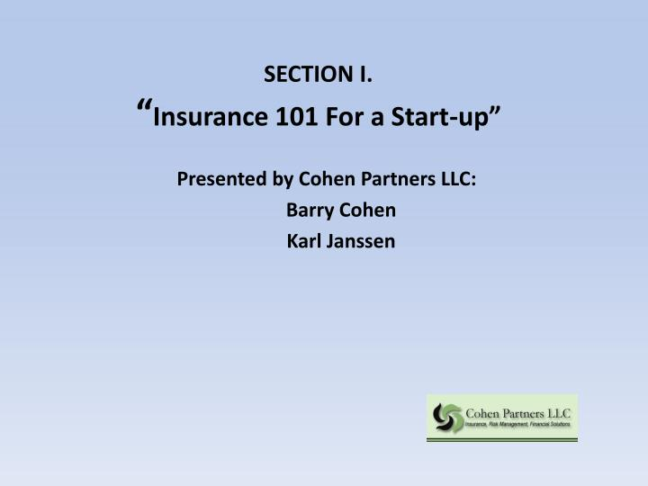 Section i insurance 101 for a start up