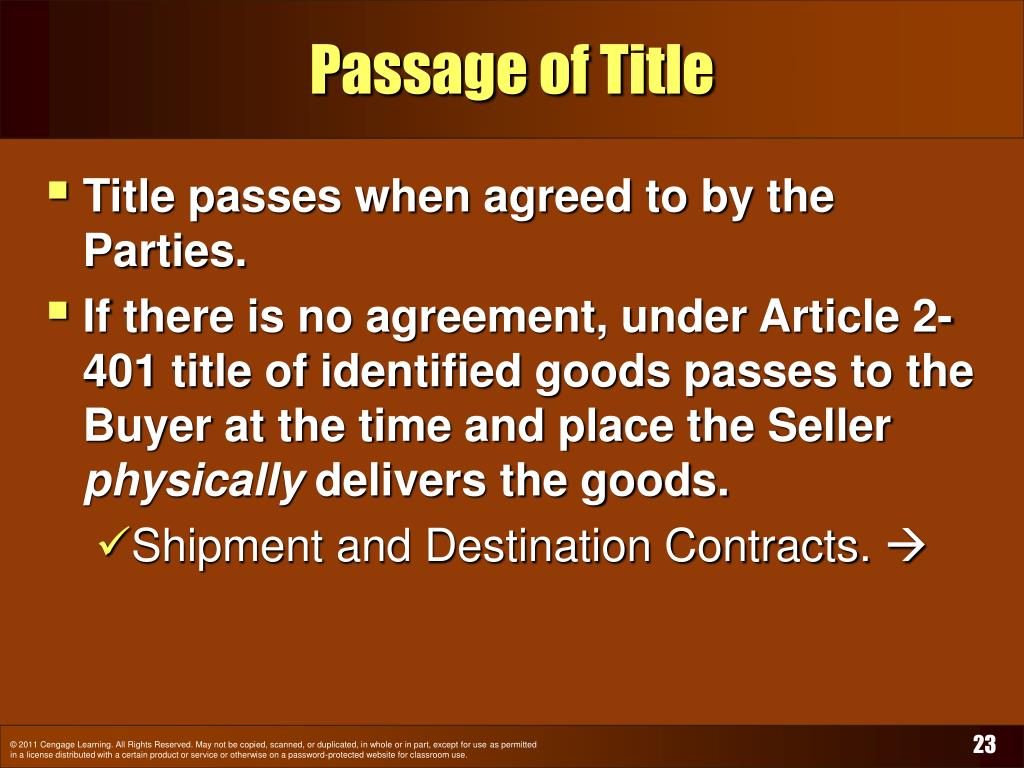 Passage of Title