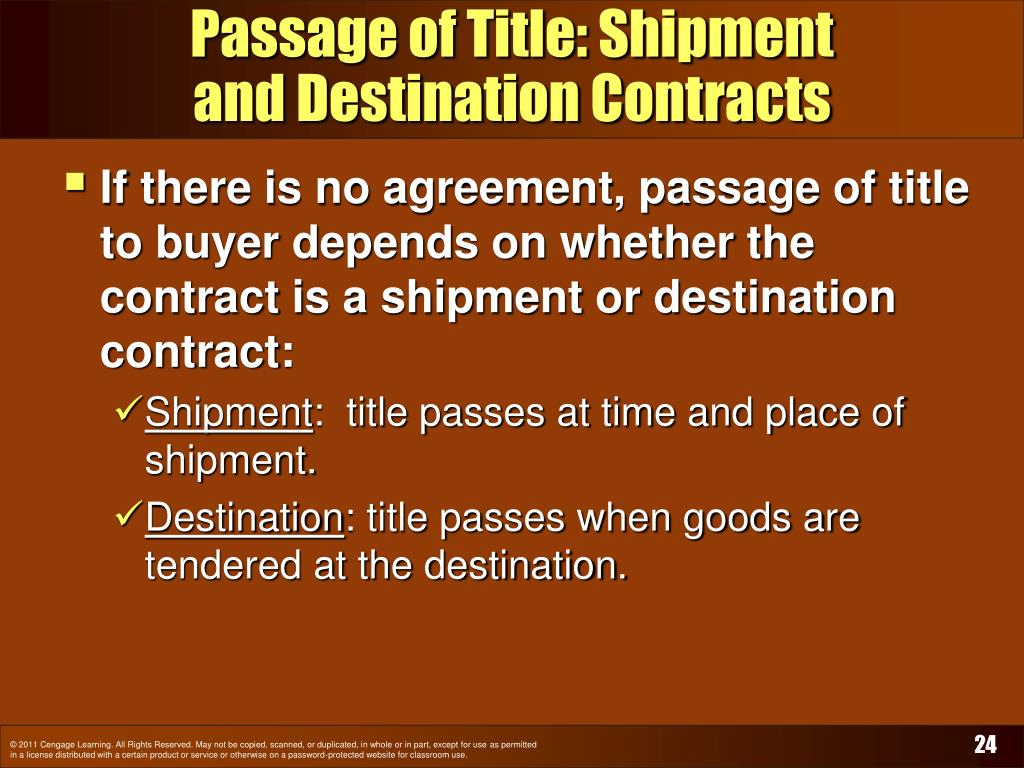 Passage of Title: Shipment